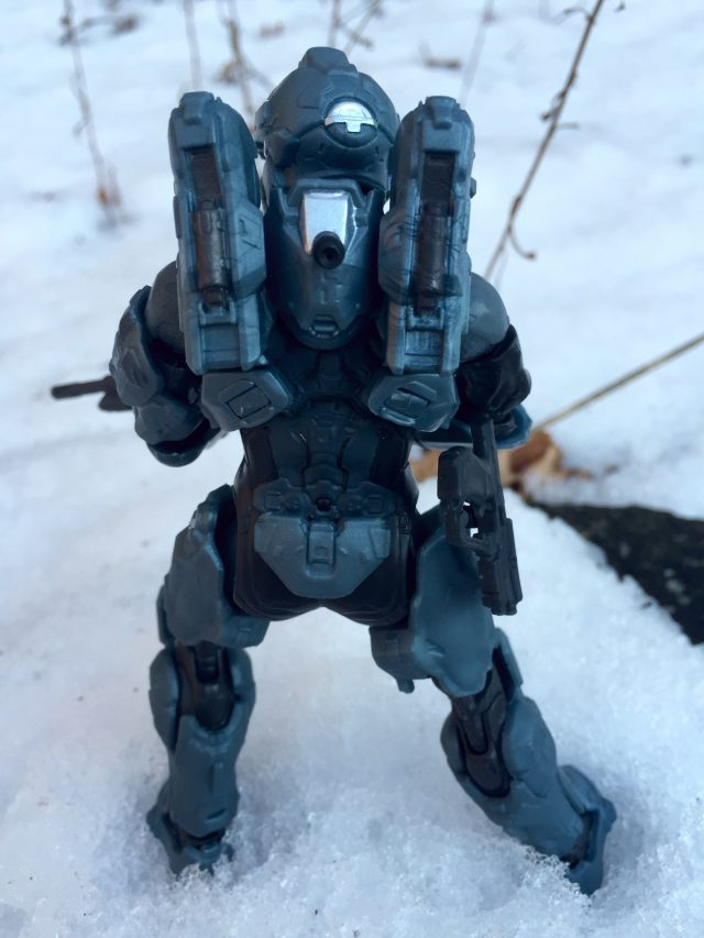 Back of Spartan Fred 104 Halo 5 Mattel Collector Figure