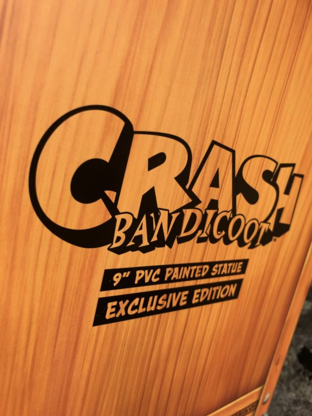 Close-Up of First4Figures Crash Bandicoot Statue Exclusive Crate Box Packaging