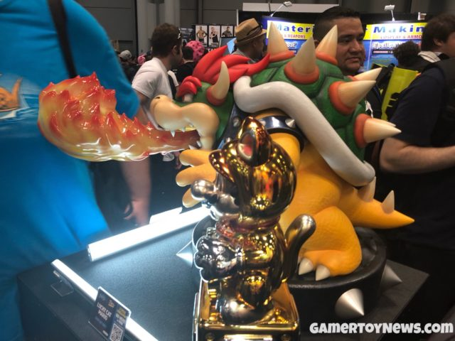 F4F Bowser Statue Size Comparison with Lucky Cat Mario NYCC 2017