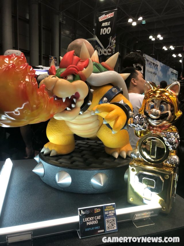Scale Comparison Bowser and Lucky Cat Mario Statues