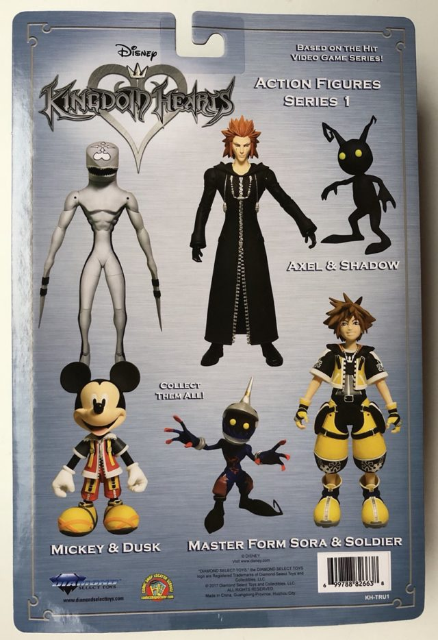 Back of Packaging Toys R Us Kingdom Hearts Figures