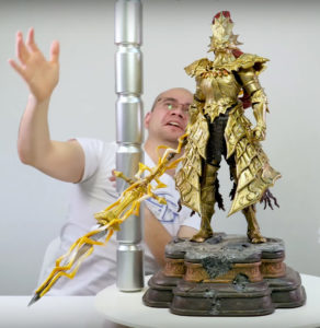 Scale Comparison Dark Souls Ornstein Statue with Soda Cans