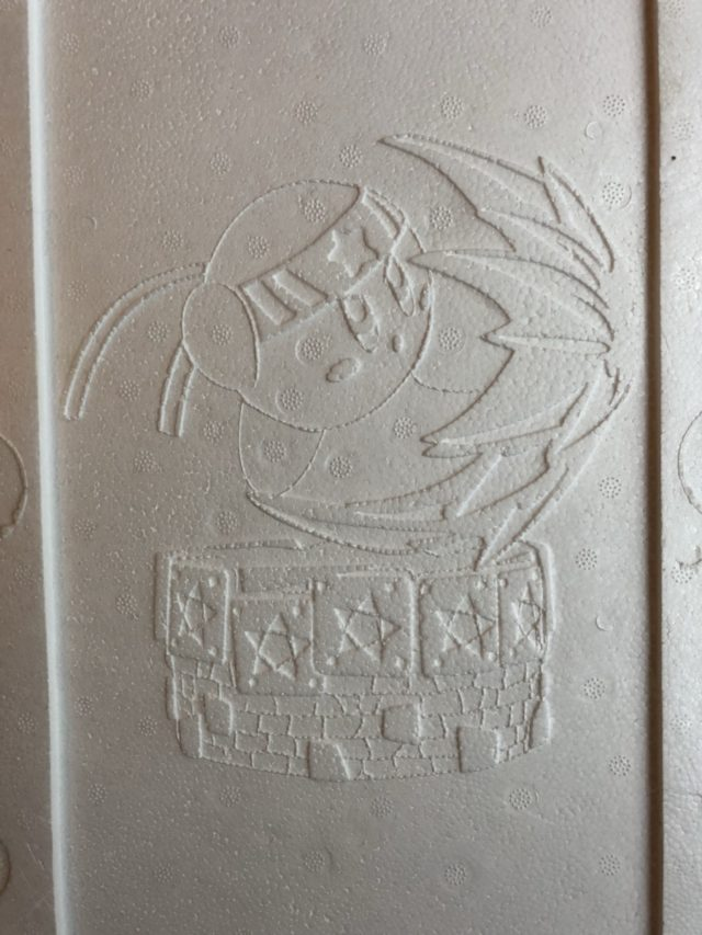 Fighter Kirby Etched into Styrofoam Insert of First 4 Figures Statue Box